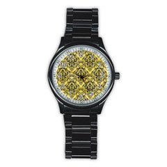 Damask1 Black Marble & Yellow Watercolor Stainless Steel Round Watch