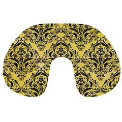 Damask1 Black Marble & Yellow Watercolor Travel Neck Pillows