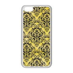 Damask1 Black Marble & Yellow Watercolor Apple Iphone 5c Seamless Case (white)