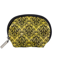 Damask1 Black Marble & Yellow Watercolor Accessory Pouches (small)