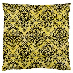 Damask1 Black Marble & Yellow Watercolor Standard Flano Cushion Case (two Sides)