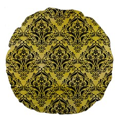 Damask1 Black Marble & Yellow Watercolor Large 18  Premium Flano Round Cushions