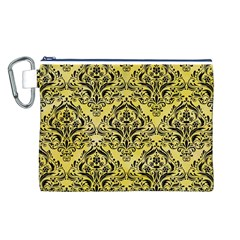 Damask1 Black Marble & Yellow Watercolor Canvas Cosmetic Bag (l)