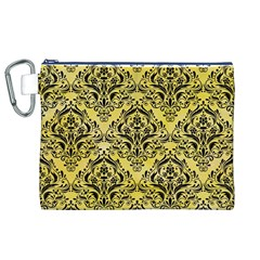 Damask1 Black Marble & Yellow Watercolor Canvas Cosmetic Bag (xl)