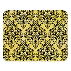Damask1 Black Marble & Yellow Watercolor Double Sided Flano Blanket (large)