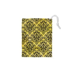 Damask1 Black Marble & Yellow Watercolor Drawstring Pouches (xs)