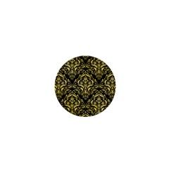 Damask1 Black Marble & Yellow Watercolor (r) 1  Mini Buttons