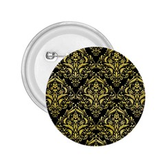 Damask1 Black Marble & Yellow Watercolor (r) 2 25  Buttons