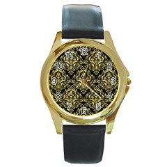 Damask1 Black Marble & Yellow Watercolor (r) Round Gold Metal Watch