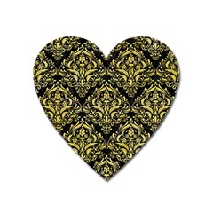 Damask1 Black Marble & Yellow Watercolor (r) Heart Magnet