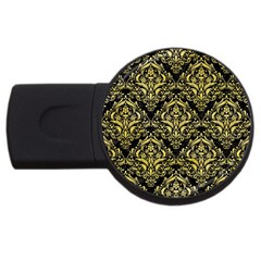Damask1 Black Marble & Yellow Watercolor (r) Usb Flash Drive Round (2 Gb)