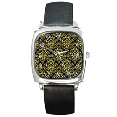 Damask1 Black Marble & Yellow Watercolor (r) Square Metal Watch
