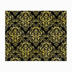 Damask1 Black Marble & Yellow Watercolor (r) Small Glasses Cloth