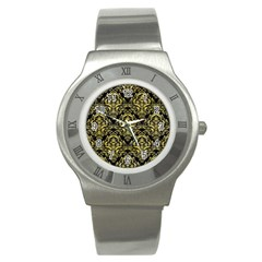Damask1 Black Marble & Yellow Watercolor (r) Stainless Steel Watch