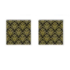 Damask1 Black Marble & Yellow Watercolor (r) Cufflinks (square)