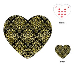 Damask1 Black Marble & Yellow Watercolor (r) Playing Cards (heart)