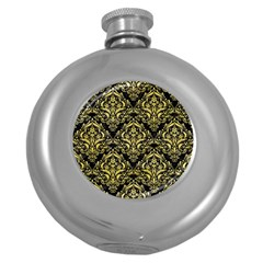 Damask1 Black Marble & Yellow Watercolor (r) Round Hip Flask (5 Oz)