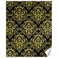 Damask1 Black Marble & Yellow Watercolor (r) Canvas 16  X 20