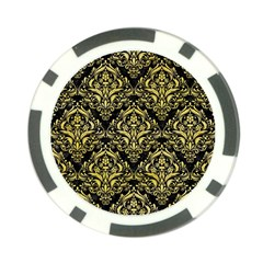 Damask1 Black Marble & Yellow Watercolor (r) Poker Chip Card Guard