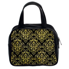 Damask1 Black Marble & Yellow Watercolor (r) Classic Handbags (2 Sides)