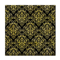 Damask1 Black Marble & Yellow Watercolor (r) Face Towel