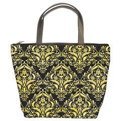 Damask1 Black Marble & Yellow Watercolor (r) Bucket Bags
