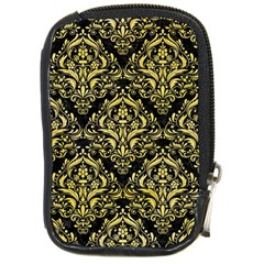Damask1 Black Marble & Yellow Watercolor (r) Compact Camera Cases
