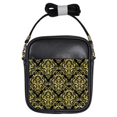 Damask1 Black Marble & Yellow Watercolor (r) Girls Sling Bags