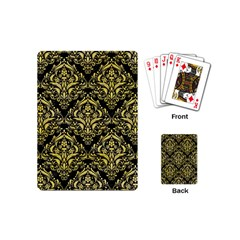 Damask1 Black Marble & Yellow Watercolor (r) Playing Cards (mini)