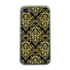 Damask1 Black Marble & Yellow Watercolor (r) Apple Iphone 4 Case (clear)