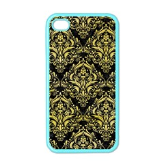 Damask1 Black Marble & Yellow Watercolor (r) Apple Iphone 4 Case (color)
