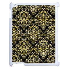 Damask1 Black Marble & Yellow Watercolor (r) Apple Ipad 2 Case (white)