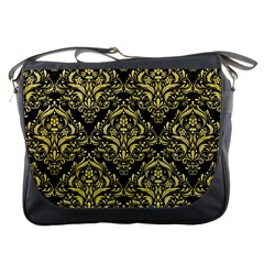 Damask1 Black Marble & Yellow Watercolor (r) Messenger Bags