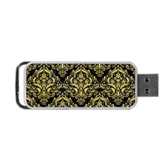 Damask1 Black Marble & Yellow Watercolor (r) Portable Usb Flash (two Sides)
