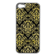 Damask1 Black Marble & Yellow Watercolor (r) Apple Iphone 5 Case (silver)