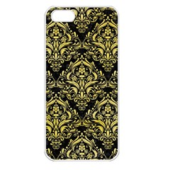 Damask1 Black Marble & Yellow Watercolor (r) Apple Iphone 5 Seamless Case (white)