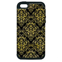Damask1 Black Marble & Yellow Watercolor (r) Apple Iphone 5 Hardshell Case (pc+silicone)