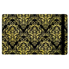 Damask1 Black Marble & Yellow Watercolor (r) Apple Ipad 3/4 Flip Case