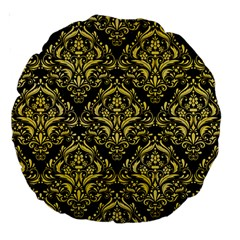 Damask1 Black Marble & Yellow Watercolor (r) Large 18  Premium Round Cushions