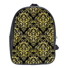 Damask1 Black Marble & Yellow Watercolor (r) School Bag (xl)