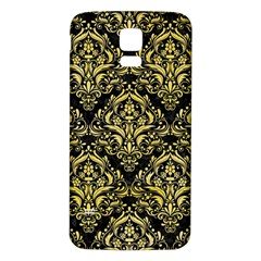 Damask1 Black Marble & Yellow Watercolor (r) Samsung Galaxy S5 Back Case (white)