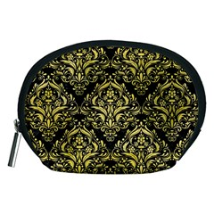 Damask1 Black Marble & Yellow Watercolor (r) Accessory Pouches (medium)