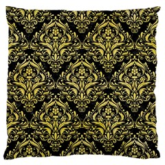 Damask1 Black Marble & Yellow Watercolor (r) Standard Flano Cushion Case (one Side)