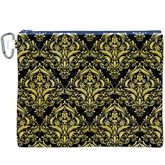 Damask1 Black Marble & Yellow Watercolor (r) Canvas Cosmetic Bag (xxxl)