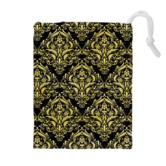 Damask1 Black Marble & Yellow Watercolor (r) Drawstring Pouches (extra Large)