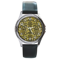 Damask2 Black Marble & Yellow Watercolor Round Metal Watch