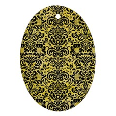 Damask2 Black Marble & Yellow Watercolor Ornament (oval)
