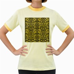 Damask2 Black Marble & Yellow Watercolor Women s Fitted Ringer T Shirts