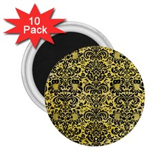 Damask2 Black Marble & Yellow Watercolor 2 25  Magnets (10 Pack)