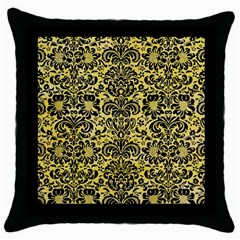 Damask2 Black Marble & Yellow Watercolor Throw Pillow Case (black)